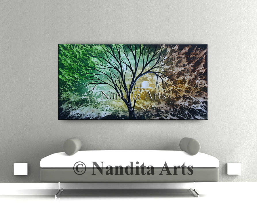 Green Landscape Painting, Tree Art by Nandita Albright, Landscape Texture Art