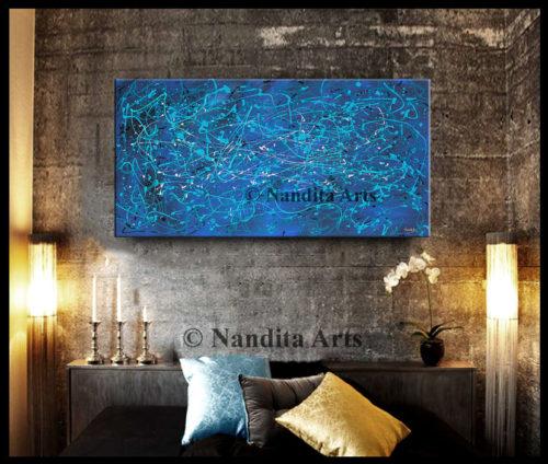 Jackson Pollack Style Blue Artwork
