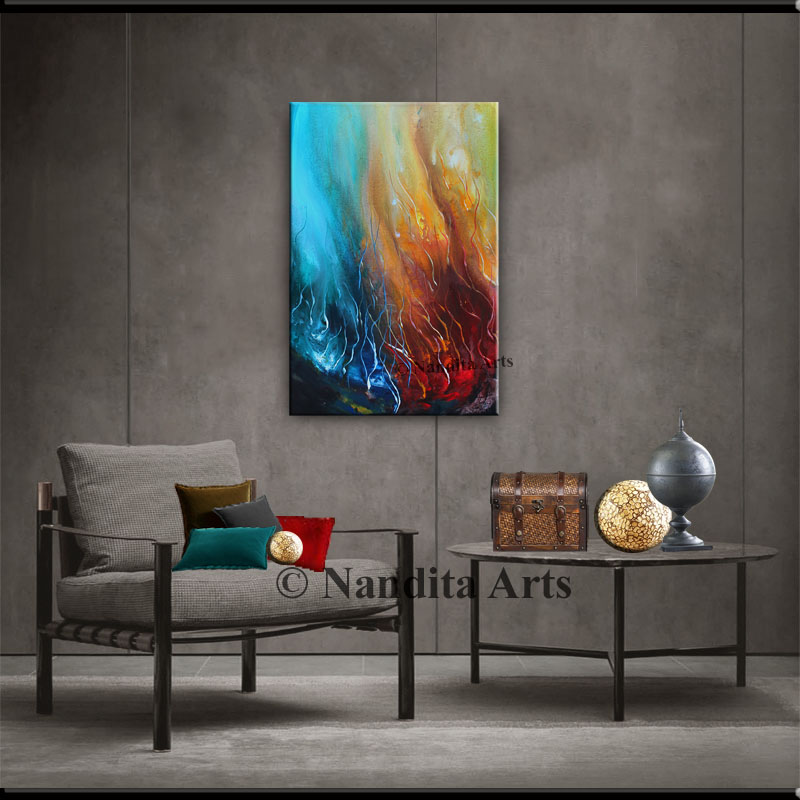 Teal and Red Abstract Art