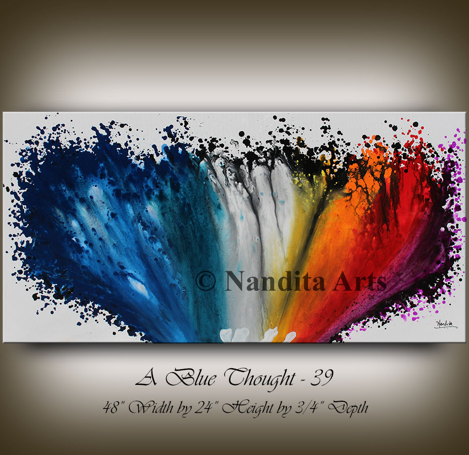 Red and Blue Modern Art Decor by Nandita Albright