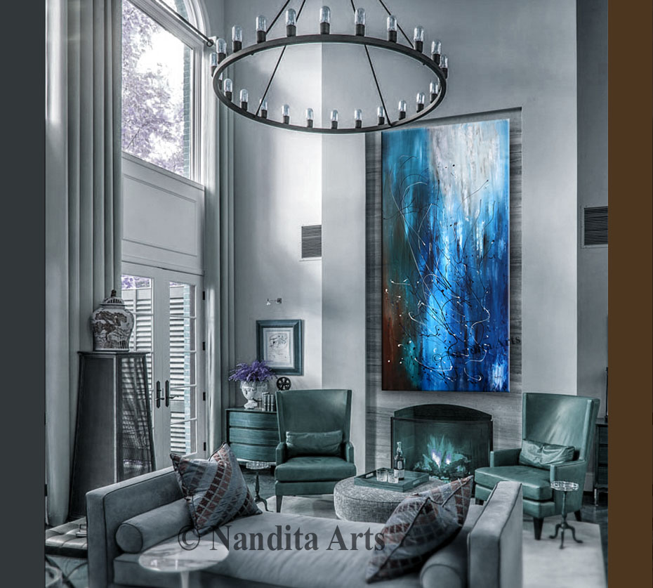Blue abstract wall art by Nandita Albright